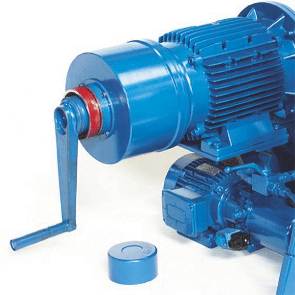 Manual emergency crank (on electric motor)